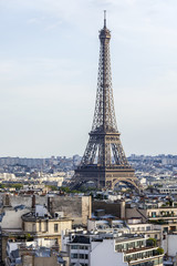 PARIS, FRANCE, on AUGUST 31, 2015. The top view from a survey platform on roofs of Paris. A city landscape with the Eiffel Tower