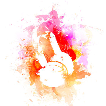 abstract watercolor headphone