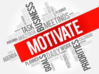 Motivate word cloud business concept