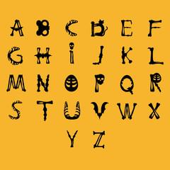Alphabet on yellow