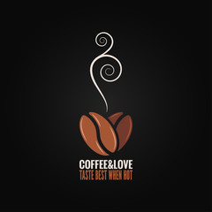 coffee bean logo love concept background