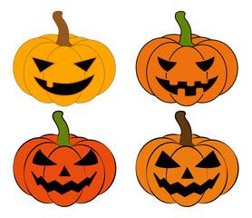 Halloween pumpkin vector illustration set, Jack O Lantern  isolated on white background. Scary orange picture with eyes.