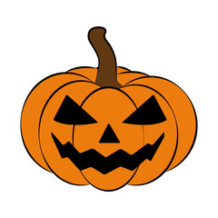 Halloween pumpkin vector illustration, Jack O Lantern  isolated on white background. Scary orange picture with eyes.