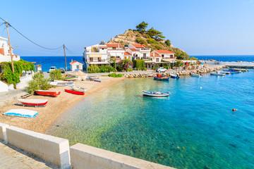 Garden Poster Cyprus A view of Kokkari fishing village with beautiful beach, Samos island, Greece