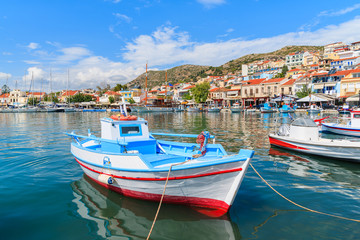 Traditional colourful Greek fishing boat in Pythagorion port, Samos island, Greece