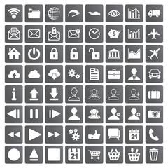 set of web, multimedia and business icons on a white background