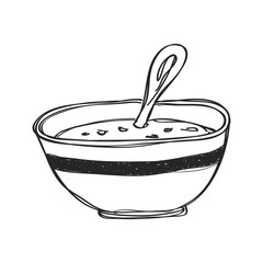 Simple doodle of a bowl of soup