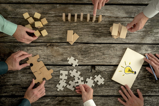 Concept of teamwork, strategy, vision or education