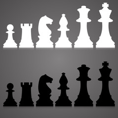 silhouettes. set of standard chess pieces.