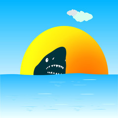 shark in the sea swimming vector