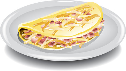 Illustration of a ham and cheese omelet on a plate.