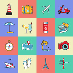 Set of travel and tourism line icons. Flat style design. Air
