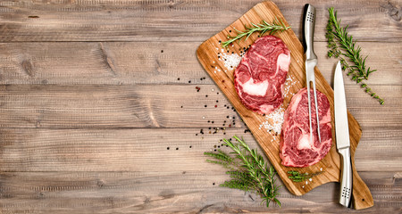 Raw meat beef Steak with herbs and spices