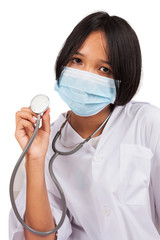 cute asian doctor girl and mask with stethoscope