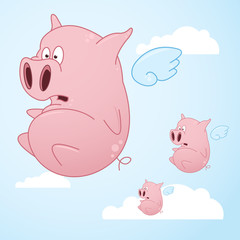 Flying Cartoon Pigs