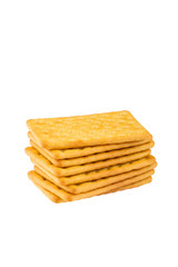 Cheese biscuits over white background