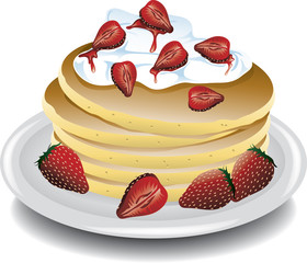 Illustration of Strawberry pancakes with whipped cream.