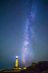 Milky Way over a lighthouse near Pacific coast, California