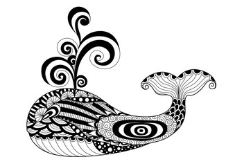 Hand drawn zentangle whale for coloring page, logo,pattern, tattoo and t shirt design effect