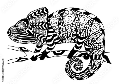 Hand Drawn Chameleon Zentangle Style For Coloring Bookshirt Design Effectlogotattoo
