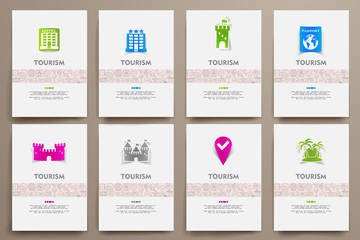 Corporate identity vector templates set with doodles tourism