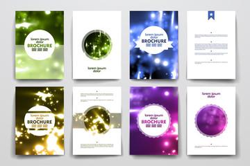 Set of brochure, poster design templates in neon molecule