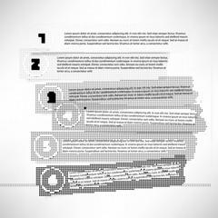 Set of bw stripes progress steps for tutorial of rasterized elem