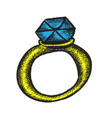 retro diamond wedding ring, doodle