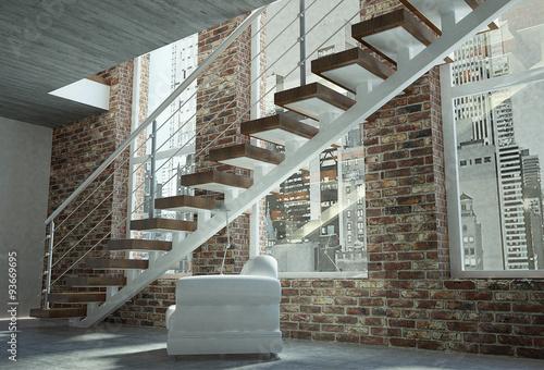 Scala con trave lineare gradini in legno e parapetto in for Profili per gradini in acciaio