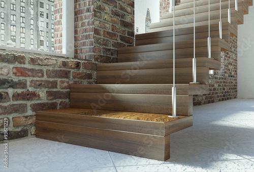 Scala retta alzata pedata in legno con tiranti in acciaio