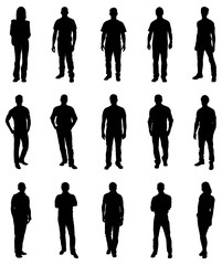 Set Of Trendy People Silhouettes