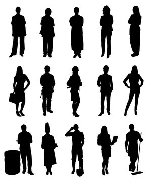 Various Professionals People Silhouettes