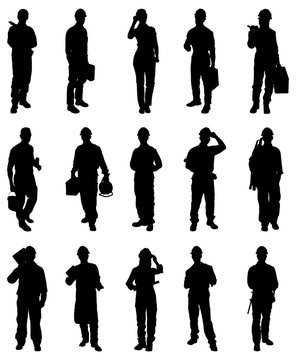 Illustration Of Workers Silhouettes