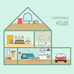 flat comfortable house section with interior living room, functional attic and garage. vector illustration