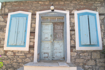 Greek symbol - blue door