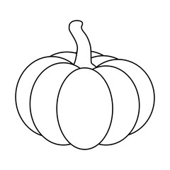 Halloween pumpkin outline, contour vector illustration isolated on white background.