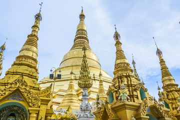 Stone lion at entrance of Shwedagon pagoda in Rangoon