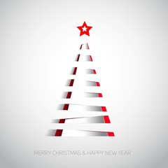 Creative paper stripes Christmas tree with red star. Vector illustration