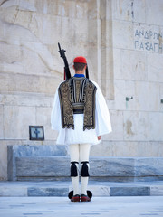 Greek soldiers Evzones dressed in full dress uniform