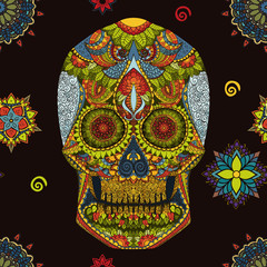 Day Of The Dead. Hand Drawn Skull ornamentrd vector flowers