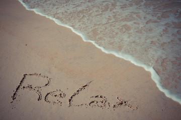 retro relax handwriting on beach