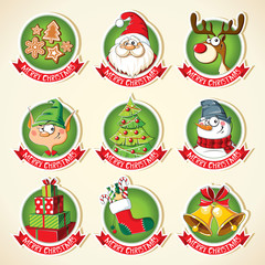 Set of Christmas cartoon stickers