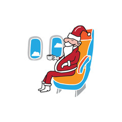 Airplane cabin passenger Santa