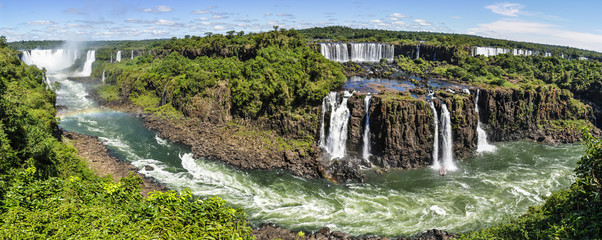 Panoramic view at Iguazu Falls,  Brazil