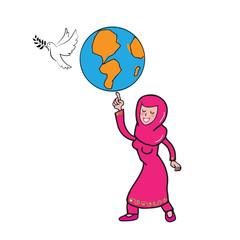 Muslim girl globe peace