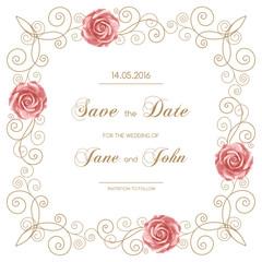 Vintage wedding invitation with roses