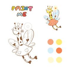 Coloring book with cartoon fairy giraffe. Vector image.