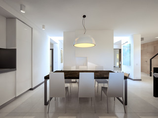 snow-white kitchen 3d visualization