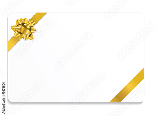 VECTOR CHRISTMAS GIFT CARD WITH GOLD RIBBON\