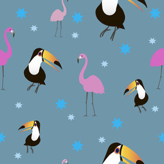 Birds pattern seamless vector illustration